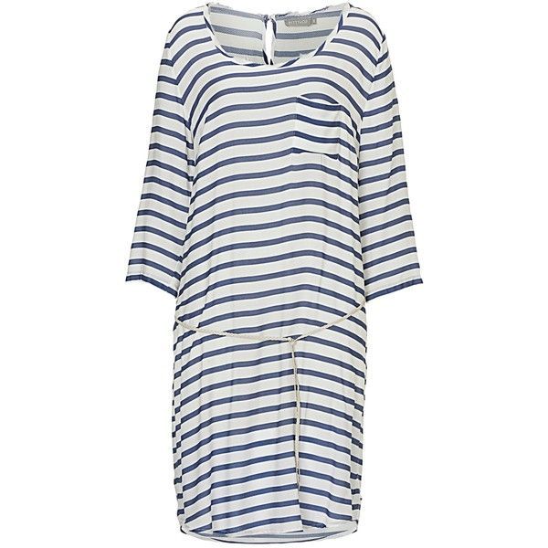 Betty & Co. Drop Waist Striped Dress, Cream/Blue ($78) ❤ liked on Polyvore featuring dresses, jersey maxi dress, women's plus size dresses, cream maxi dress, plus size dresses and sleeved maxi dress