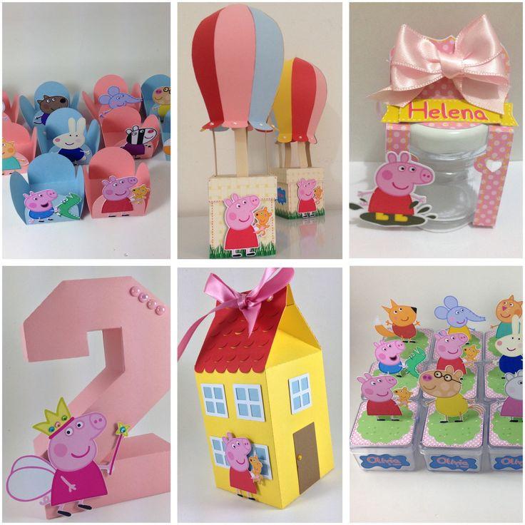 Kit Personalizado Peppa Pig O kit acompanha: 30 Forminhas para docinhos; 02 Cx. Balão 3D; 10 Porta potinho de vidro 40mL; 01 Número 3D; 10 Cx. Milk Casinha Pig; 12 Cx. Acrílica.