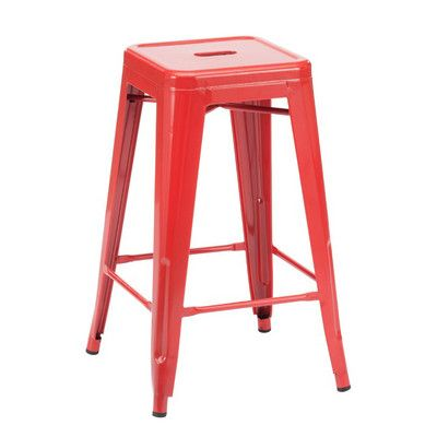 "Design Lab MN Dreux 26"" Bar Stool Finish: Glossy Red"