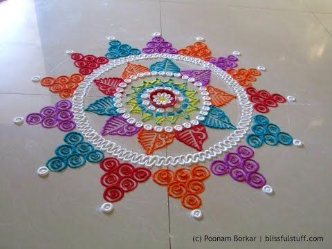 Beautiful multicolored rangoli | Creative and unique rangoli design | Poonam Borkar rangoli designs - YouTube