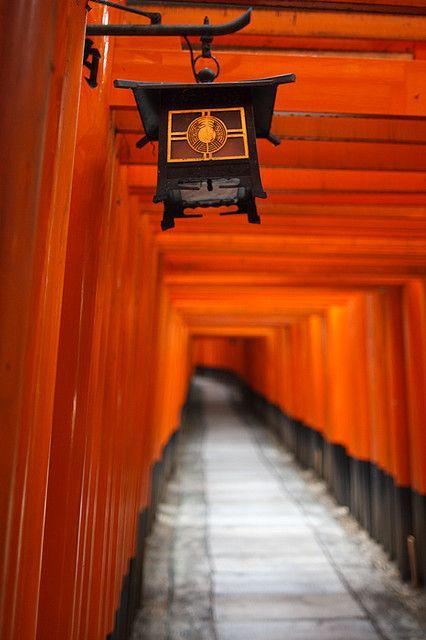 Torii and Lantern - Fushimi Inari-taisha Shrine, Kyoto, Japan