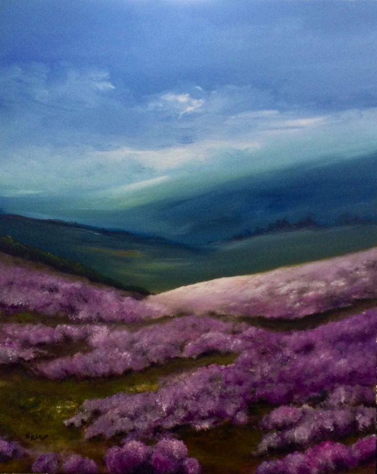 Contemporary Original Painting Oil on canvas, The Spring arrives in moors