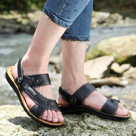 Summer Beach Shoes Male Sandals Men Genuine Leather