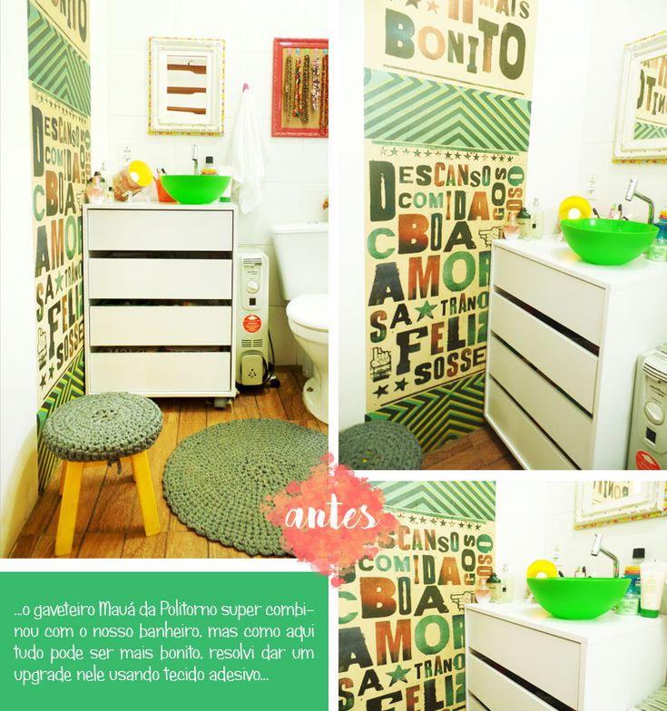 Antes e Depois Banheiro gaveteiro repaginado com tecido adesivo, faça você mesmo, lambe lambe Blog Remobília Politorno