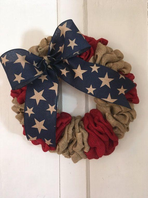 Burlap Patriotic wreath Flag Wreath stars and stripes