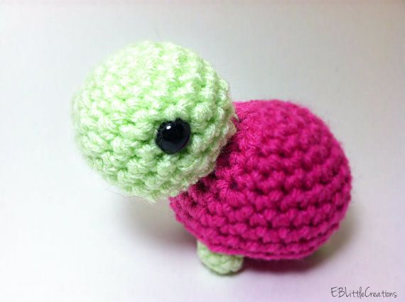 Cute Little Turtle Plush, Small, Pink, Crocheted Toy