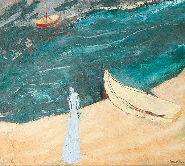 Sonia Lawson R.A (British, born 1934) Blue lady, yellow boat
