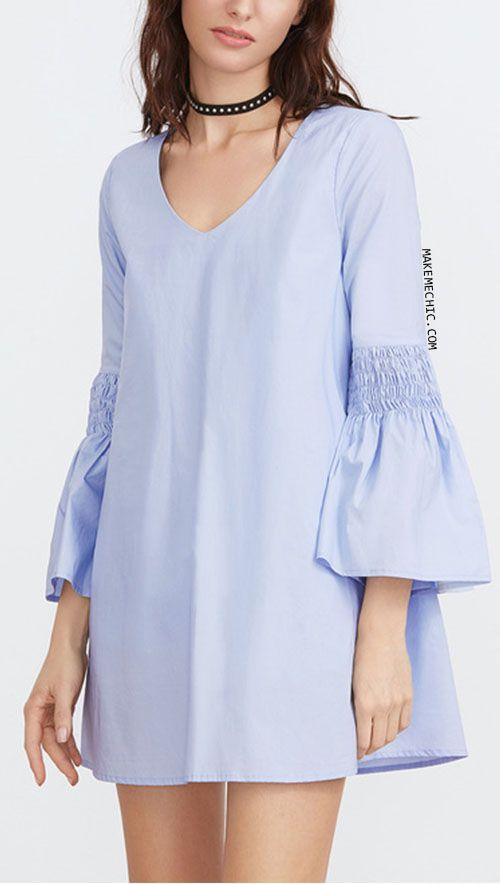 Blue Keyhole Back Smocked Bell Sleeve Dress