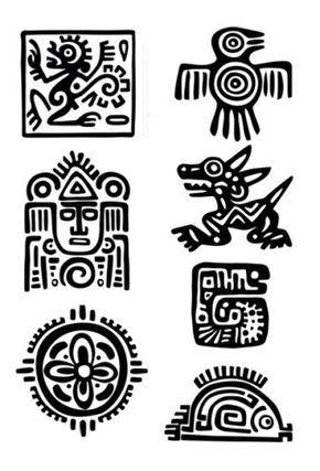 Conjunto de Azteca Maya  tatuajes temporales elegir su fav