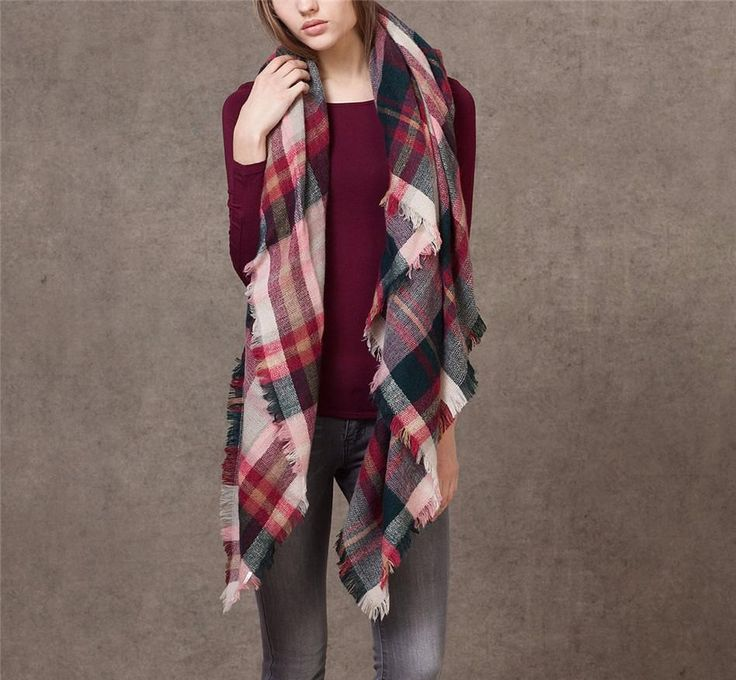 Fashion Winter Plaid Acrylic Blanket Scarf For Women – Zorket