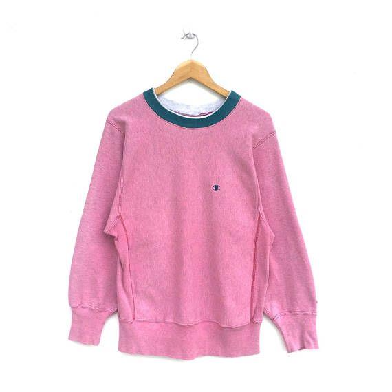 RARE Soft pink CHAMPION embroidered small logo Sweatshirt