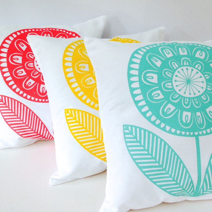 New Scandinavian 'Rosie' cushion pillow cover by Jane Foster - retro Scandi flower print  - original artwork by Janefoster on Etsy https://www.etsy.com/listing/248578463/new-scandinavian-rosie-cushion-pillow