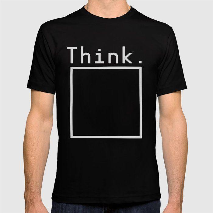 Think Outside The Box Black Square Design Mens T-Shirt