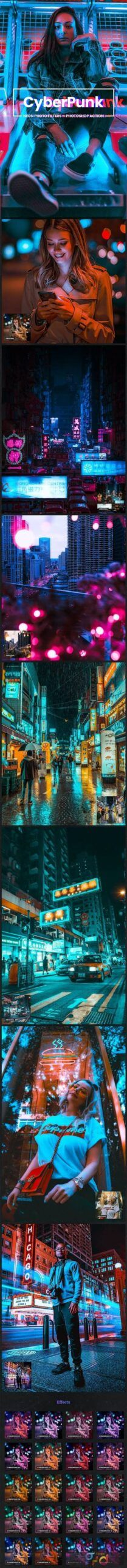 CyberPunk Neon Photo Filters Photoshop Action 26775858 ...