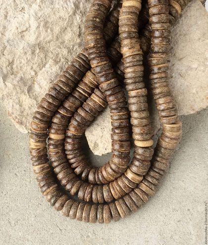 Для украшений ручной работы. Ярмарка Мастеров - ручная работа. Купить Кокос 10 мм - нить 10 см темный шайба рондель бусины для украшений. Handmade.