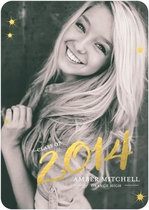 Bursting Ovation - Graduation Announcements feature a bold gold 2014! #graduation