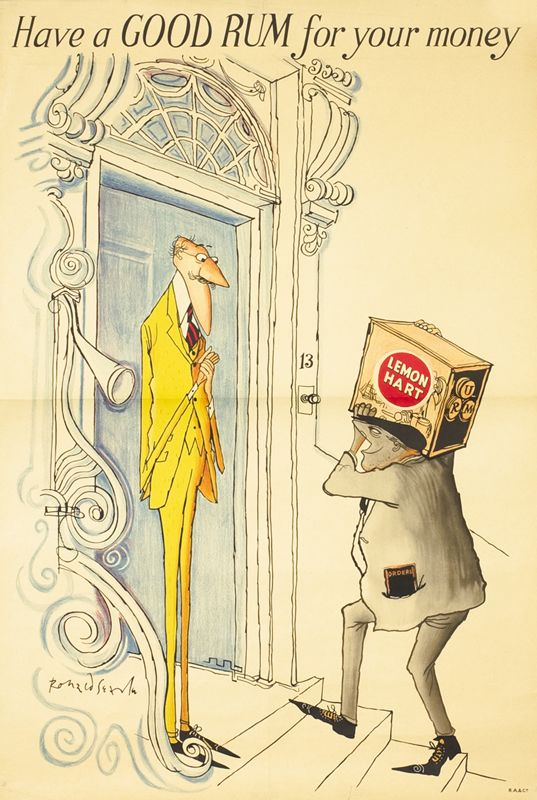 Searle, Ronald vintage poster: Have a GOOD RUM for your money - Lemon Hart