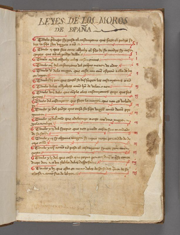 Week 5 c. Kungliga biblioteket, stockholm, sweden, Leyes de los moros de España, spanish, Laws for the mores in Spain, ca. 1300-1400 AD, 88 fol., sepia-ish minuscule script, red details. heavy script, restaurated, For full download: http://urn.kb.se/resolve?urn=urn:nbn:se:kb:handskrift-19663580
