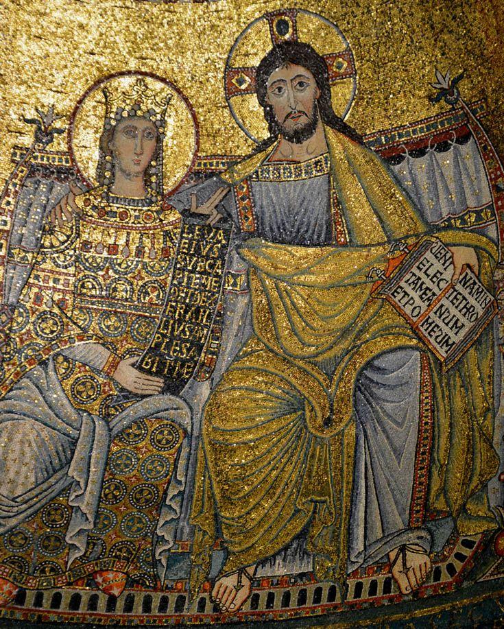 Санта-Мария-ин-Трастевере, Рим. Под фризом изображены сцены из жизни Марии работы Пьетро Каваллини (1291 г.).