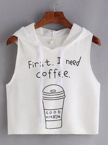 Top café con capucha crop tank -blanco