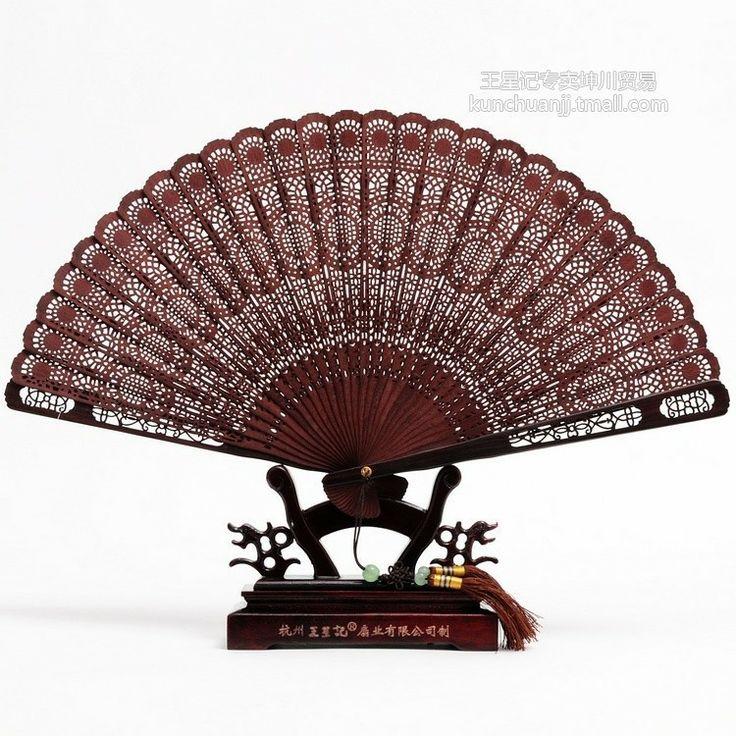 Hangzhou Wangxingji Gift Box Purple sandalwood folding fan sandalwood Carved Chinese characteristics upscale craft fan - eBoxTao, English TaoBao Agent, Purchase Agent. покупка агент
