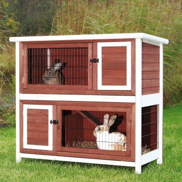 Trixie Pet Products 2-Story Rabbit Hutch - Brown/White - Rabbit Cages &