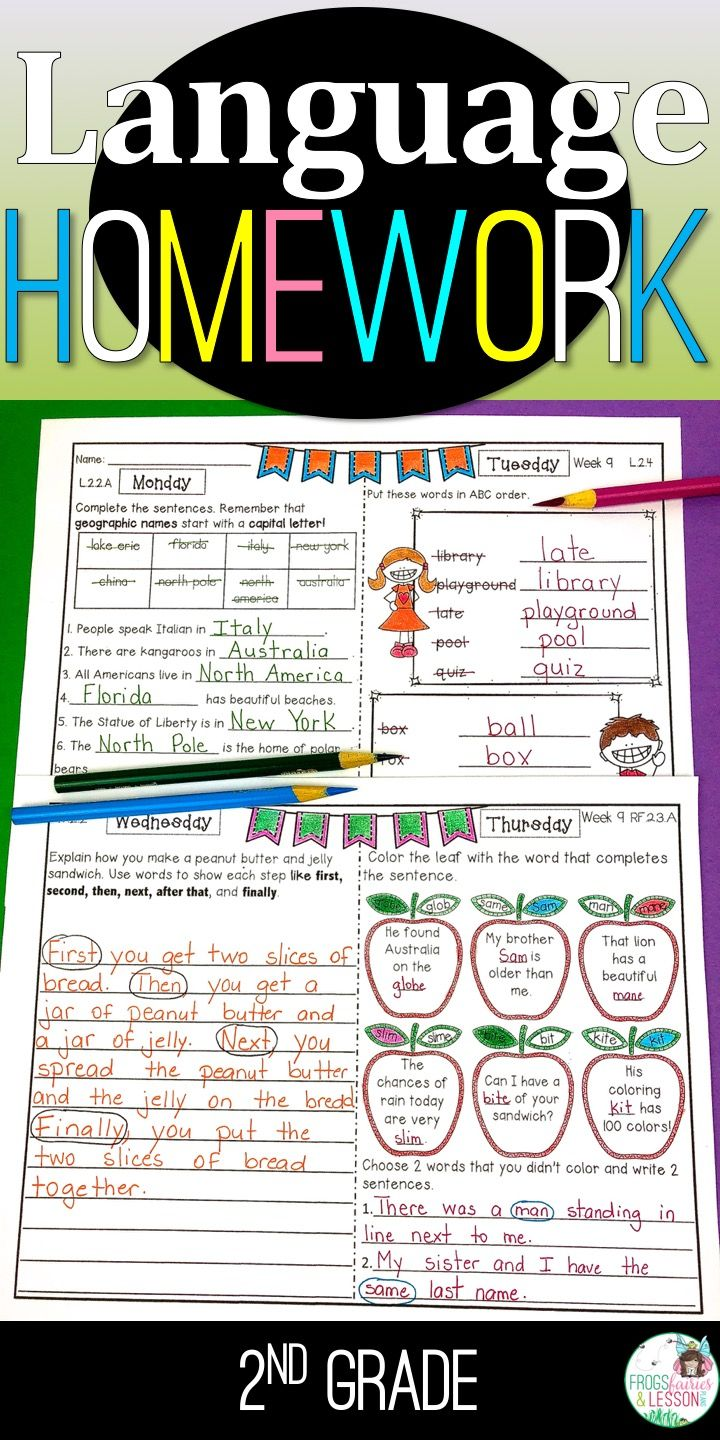 Second Grade Ela Homework Bundle With Digital Option For Distance Learning 2nd Grade Writing Second Grade Student Teaching [ 1440 x 720 Pixel ]