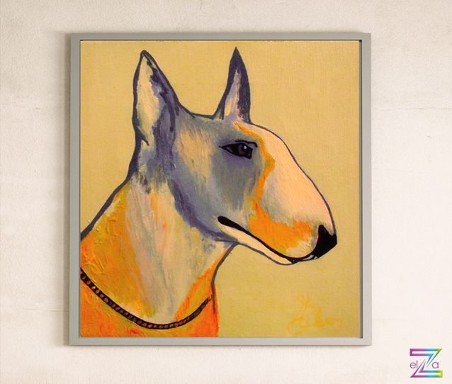 Bull Terrier painting 2015 acryl on canvas 50cm x 50cm #vibrantorange #myfavouritebully