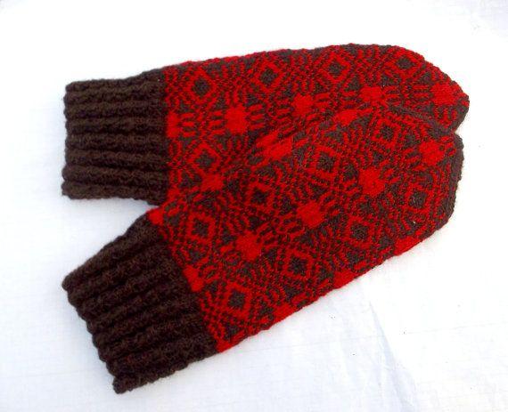 hand knitted wool mittens handknit brown by peonijahandmadeshop