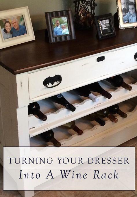Dresser to Wine Rack DIY | furniture | DIY Furniture, Old ...