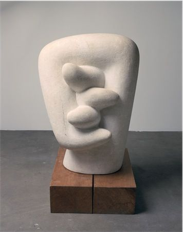 """thenoguchimuseum: """"Isamu Noguchi, Noodle, 1943-44, bottocino marble on pine base Photo by Kevin Noble Private collection """""""