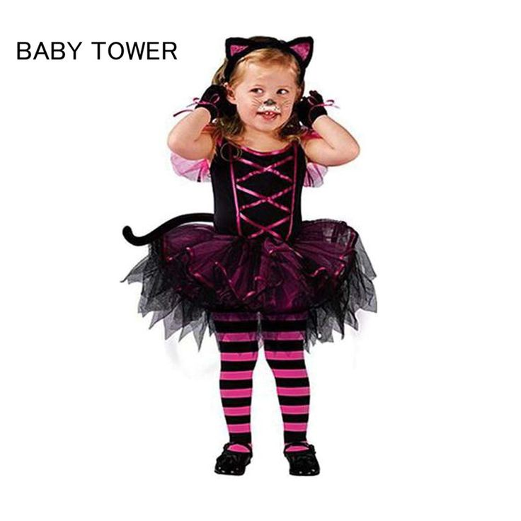 2017 Hot Halloween Costumes for baby girl tutu dress + Headdress Cheshire Cat girl Prom Animal Cosplay Apparel kids girl clothes