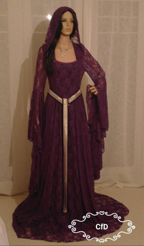 Purple Lace Elven Wedding Dress With Medieval Style Girdle Belt