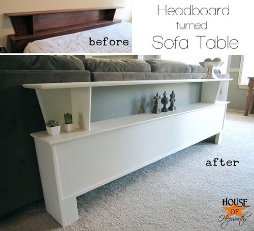 Re purposing a headboard into a sofa table complete for Sofa table tutorial