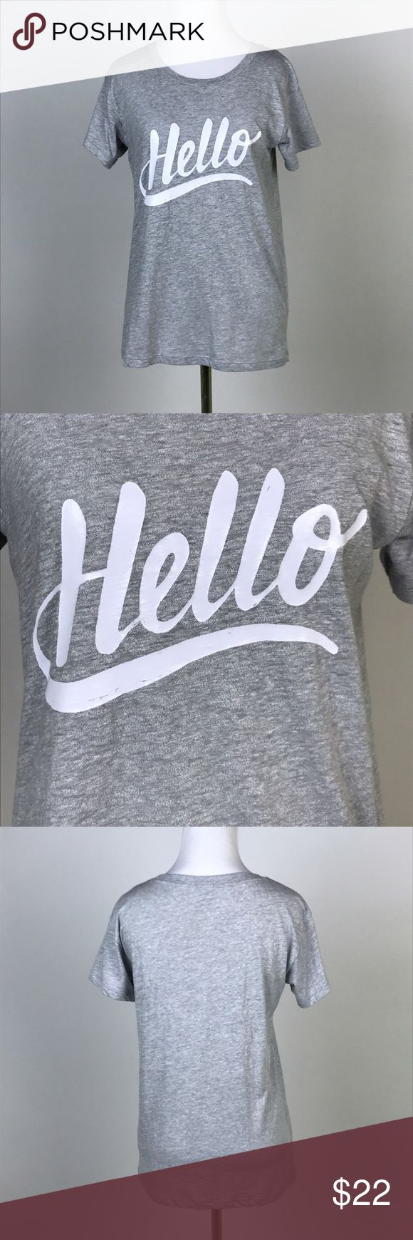 """[J Crew] Hello Graphic Tee Shirt Gray Casual Chic Say hello to your new favorite graphic tee! Super soft. Crew neck. Slightly loose fit.  🔹Pit to Pit: 17"""" 🔹Length: 24"""" 🔹Condition: Excellent pre-owned condition.  *V57 J. Crew Tops Tees - Short Sleeve"""