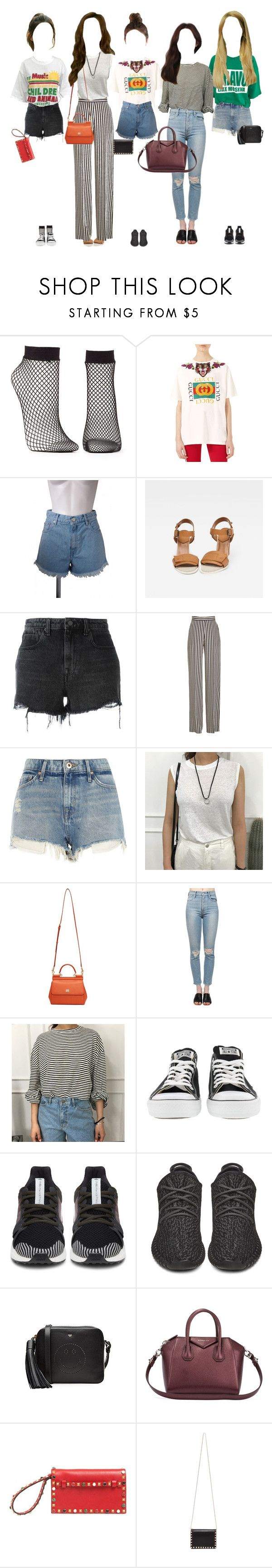 """Promise arriving at music show"" by promise-official ❤ liked on Polyvore featuring Charlotte Russe, Gucci, G-Star Raw, Alexander Wang, Etro, River Island, Dolce&Gabbana, Kerr®, Converse and adidas"