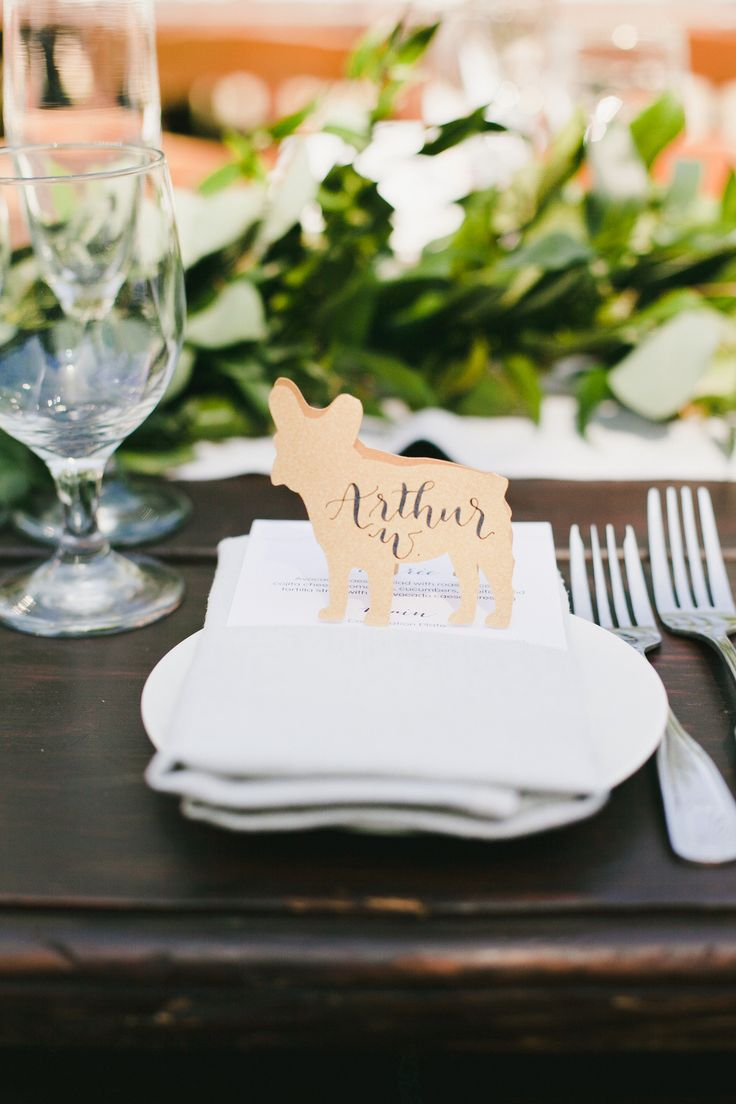 french bulldog place cards! Read More: http://www.stylemepretty.com/2014/11/07/ojai-pink-garden-wedding/