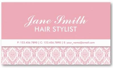 Elegant Damask Floral Pattern Cosmetologist Salon Business Card Template