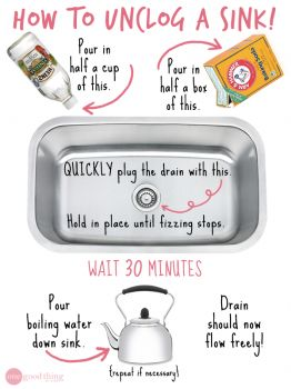 1000 ideas about unclog sink on pinterest drain cleaner - Clogged kitchen sink without garbage disposal ...