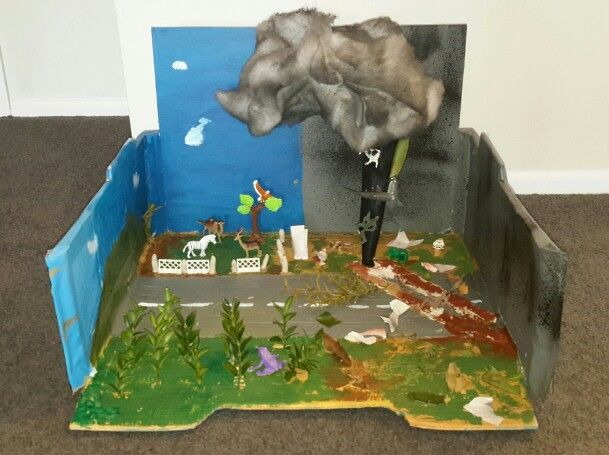 'Tornado diorama - before and after'  by a year 8, 12 year old, Auckland New Zealand.