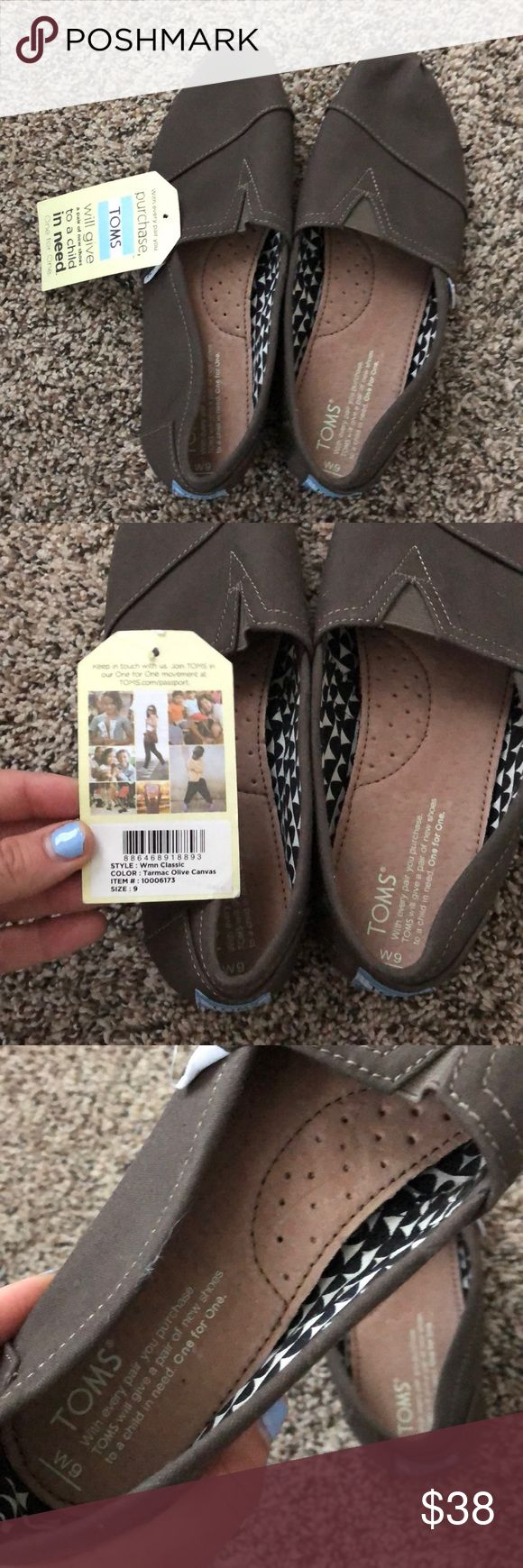 """BRAND NEW never worn Women's Olive Green Toms BRAND NEW with tags, never worn, Women's Size 9 Olive Green Toms. Had to repost because previous buyer """"accidentally"""" purchased...They were never sent out to her, still remain unworn. they are in great condition and fit true to size, I just received the wrong size as a gift! Willing to negotiate a reasonable price, keep in mind poshmark takes money for shipping! Toms Shoes Flats & Loafers"""