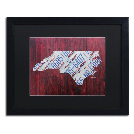 Trademark Fine Art North Carolina License Plate Map Framed Wall Art, Size: 14W x .5D x 11H , Multicolor