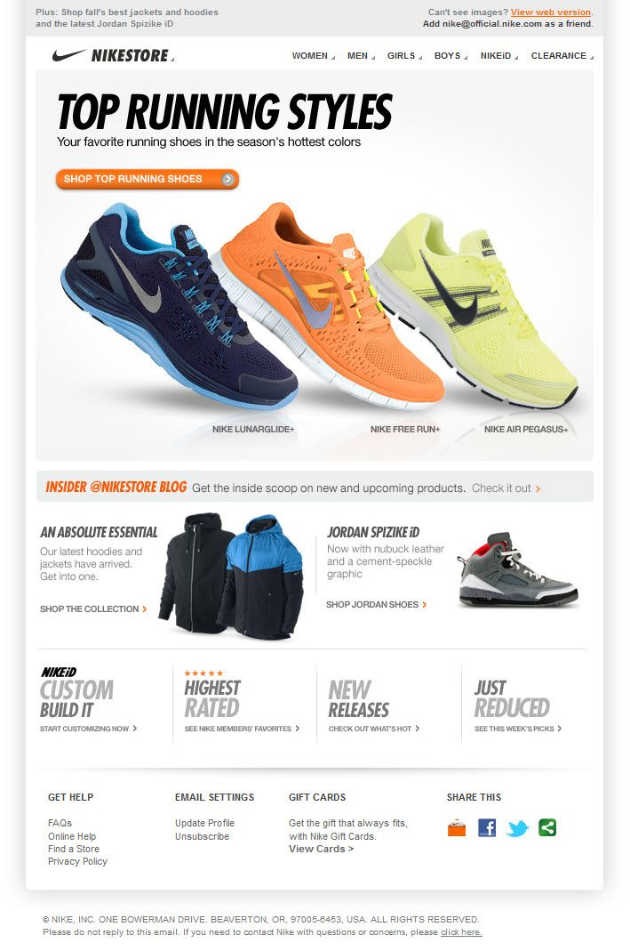 Nike email design