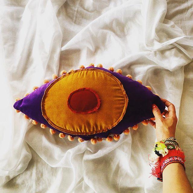 HOMEWARE COLLECTION theDesignGroup_furnitureideas | Keep an eye on Greek summer //handmade velvet cushion in various colors and dimensions exclusively in our shop at Loukianou 21,Kolonaki #thedesigngroup #furniture #fabric #eye #cushion #handmade #creative #greek #inspiration #interiors #ideas #decor #design #decoration #madeingreece #kaloterakis #rethymno #kolonaki #athens #greece #boho #boheme