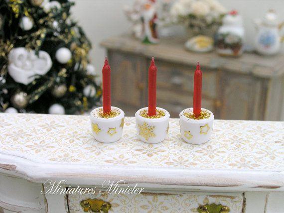 In miniatura Dollhouse Natale candele 3 pezzi Set di Minicler