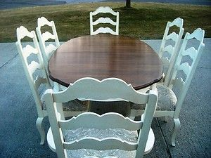 Ethan Allen French Country Dining Room Table 8 Chairs