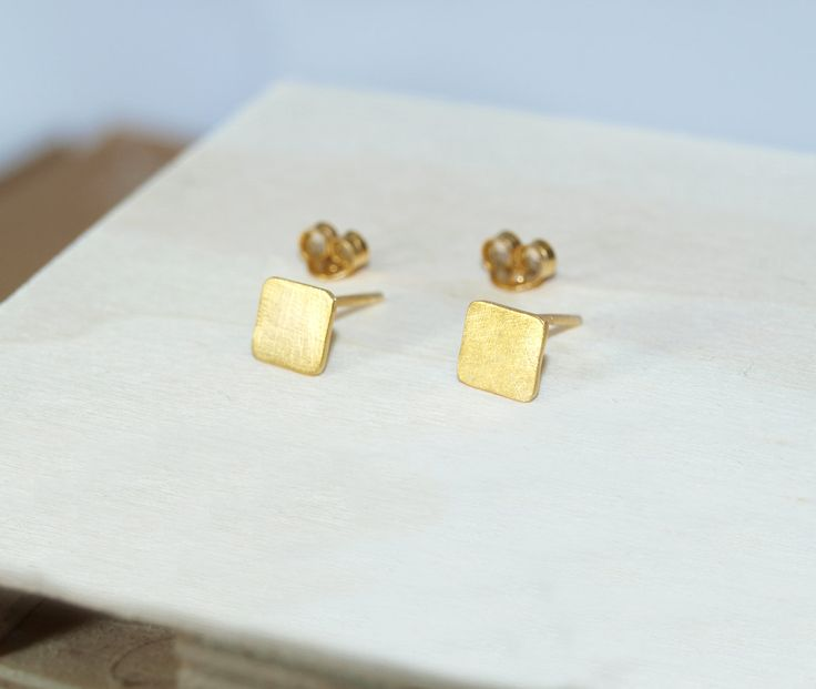 stud earrings,square earrings,sterling silver 925,gold-plated earrings,gold squares,black patina,rose gold,silver earrings,gold earrings by Fragkiski on Etsy