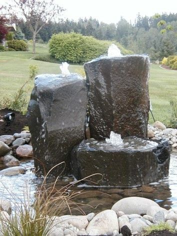 This stone water fountain goes well in every garden