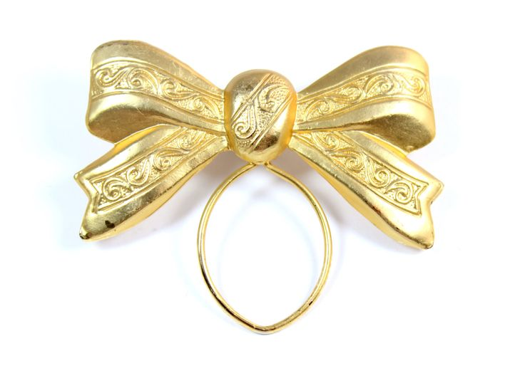 Vintage bow scarf ring pin goldtone scarf ring by SperaboRose