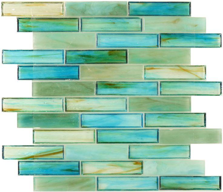 "Botanical Glass  Sea Glass Tiles, 1"" x 4"", Turquoise, Glossy, Green, Glass"